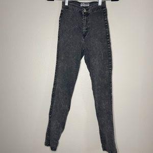 AMERICAN APPAREL Black Acid Wash Denim Leggings XS